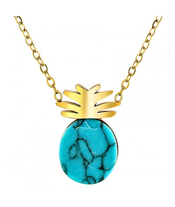 COLLIER - PINEAPPLE GOLDEN BLUE
