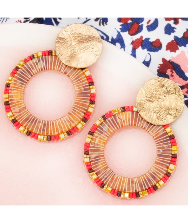 BOUCLES D'OREILLES - CRYSTAL PEARLS VALLEY GOLD & CORAL
