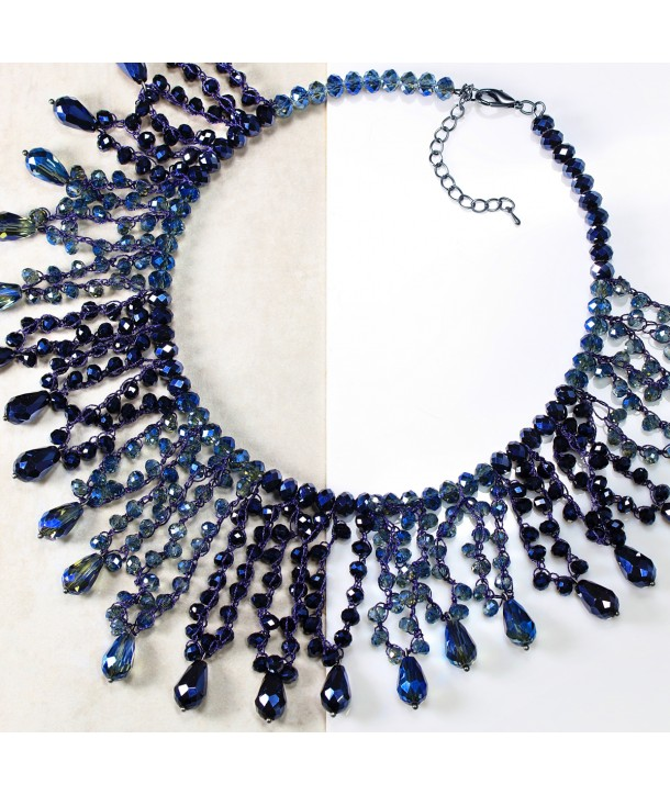 COLLIER - BLUE NIGHT FALLS OF CRYSTALS
