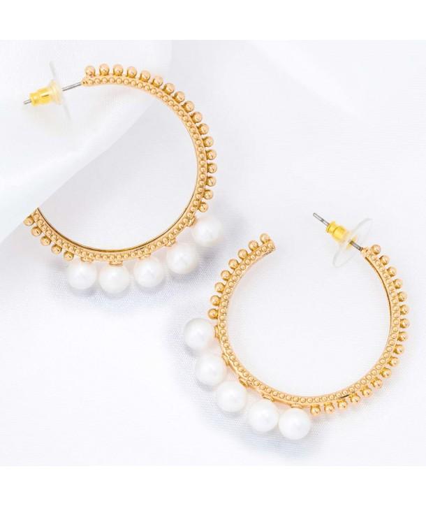PEARLS OF CROWN GOLD modern golden hoop earrings with white pearl crown