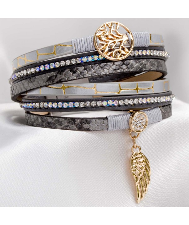 EVANESCENCE BAMBOU GRAY GOLD bracelet double turn multirow gray leather and gold lamé crystal and magnetic clasp