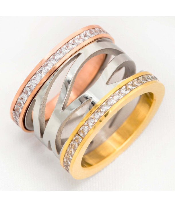 Ring TRIBEKA STEEL ALL GOLD openwork bangle stainless steel silver gold and rosé zirconium oxides