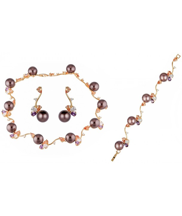 OCEANE BROWN COLOR GOLD set necklace, bracelet, golden earrings, brown pearls and multicolored crystals
