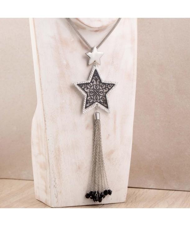 ESTRELLA BLACK SILVER necklace silver star pendant openwork black filigree and crystal