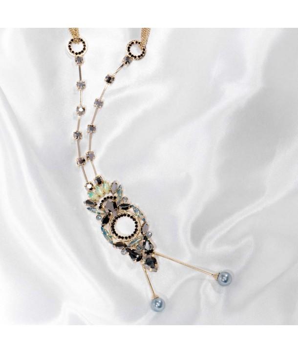 Collier CRYSTAL OF MASSYA CHAMPAGNE GOLD sautoir pendentif doré ajouré cristal gris et noir