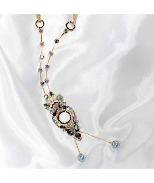 Necklace CRYSTAL OF MASSYA CHAMPAGNE GOLD long necklace openwork golden pendant gray and black crystal