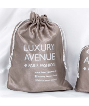 LUXURY POUCH LUXURY AVENUE SATIN GRAY SIZE M in taupe logo gift packaging
