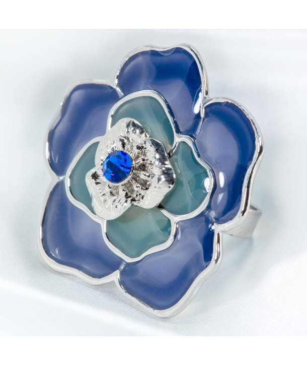 Adjustable CAMELIOS BLUE SILVER ring adjustable blue flower glass paste and crystal