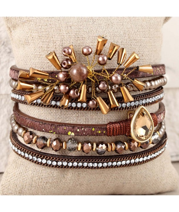 DIANA GALAXY CHOCO GOLD bracelet double turn multirow chocolate brown and gold topaz crystal and magnetic clasp