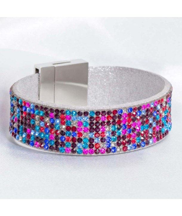 CRYSTAL RIVIERA COLOR SILVER flexible silver bracelet with multicolored crystals set
