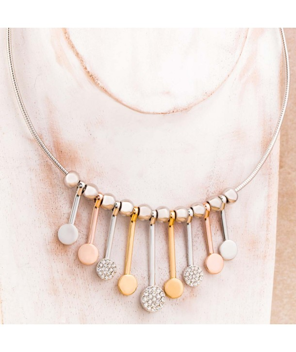 Necklace CERCLUNE ALL GOLD flexible circle three gold silver plated rose gold and crystal