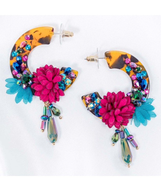 BAROCCA COLOR GOLD earrings dangling golden multicolored flowers in suedette resins and crystals set