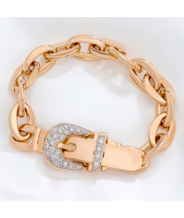 GOLDEN BELT OF CRYSTAL bracelet curb chain gilded with fine gold, belt buckle and crystal clasp