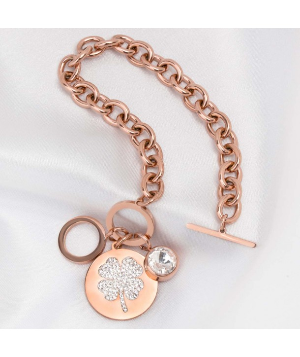 LUCKY CHANCE PINK GOLD curb chain bracelet gilded steel with fine rose gold, stick clasp and crystal clover medallion