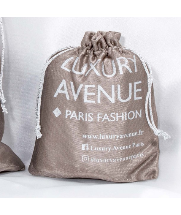 LUXURY POUCH LUXURY AVENUE SATIN GRAY SIZE S in taupe logo gift packaging