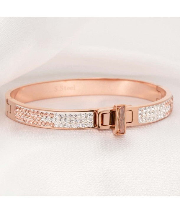 JOYA CRYSTAL STEEL PINK GOLD bangle stainless steel rose gold tone white crystal and peach swivel button
