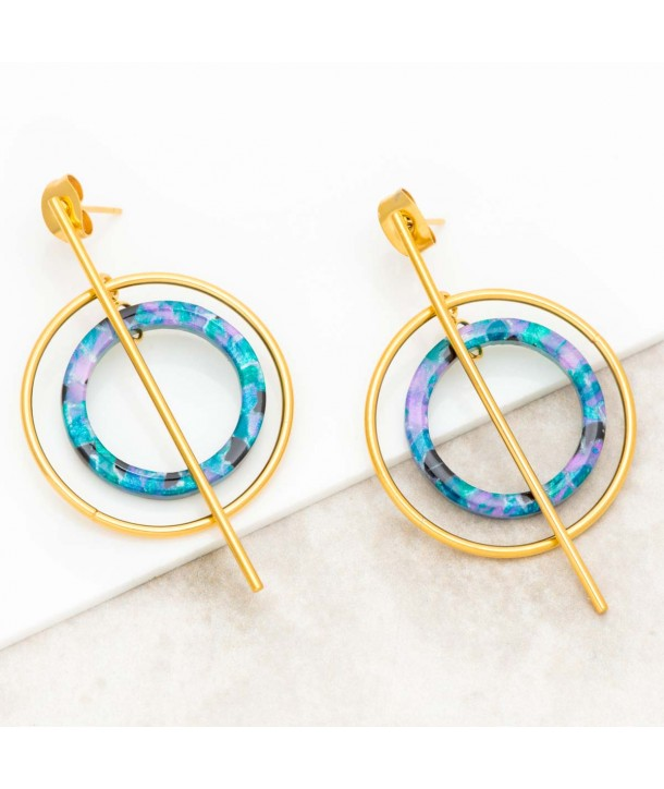 TELIOS STEEL BLUE GOLD dangling steel earrings with golden circles and blue resins