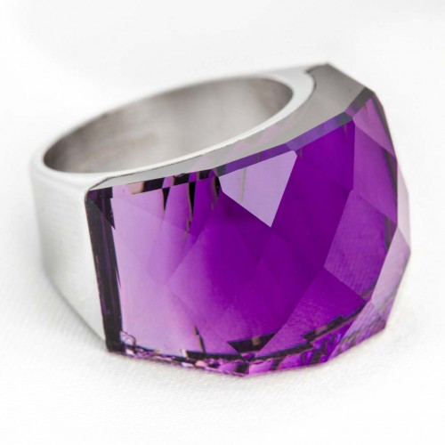 Ring ICE CRYSTAL STEEL AMETHYST SILVER Silver and Plum Amethyst Stainless steel Crystal