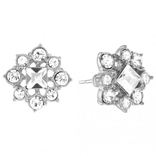 CELENE White Silver Stud Earrings Classic chic Silver and White Rhodium Crystal